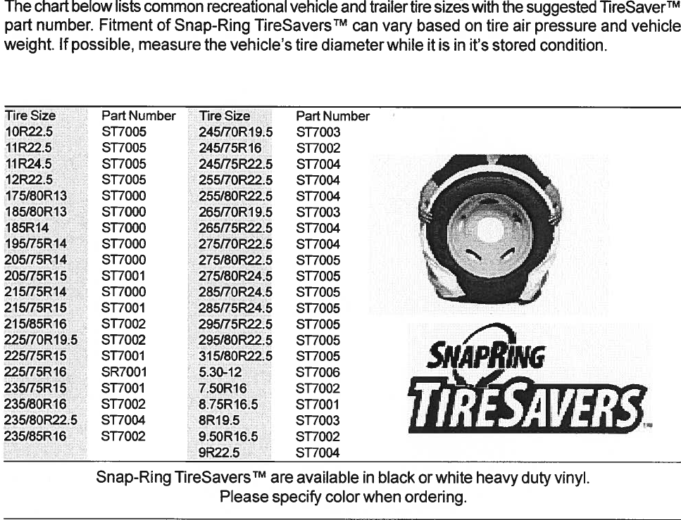Covercraft SnapRing Tire Saver Sizing Chart