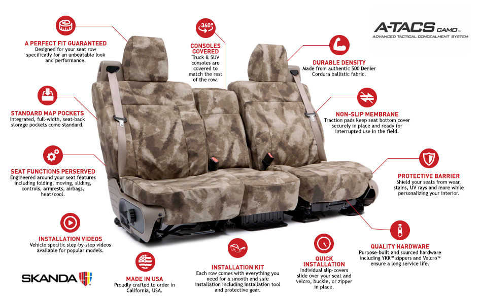Coverking A-TACS Ballistic Custom Seat Covers