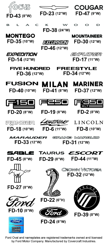 Ford Car Cover Logos